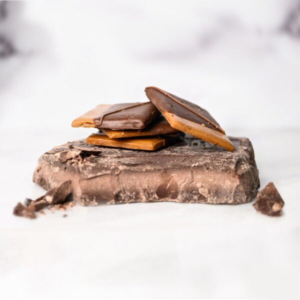 Enrobed Toffee on mound of chocolate